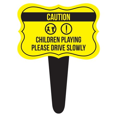 Caution Children Playing Please Drive Slowly Home Yard Lawn Sign, Yellow