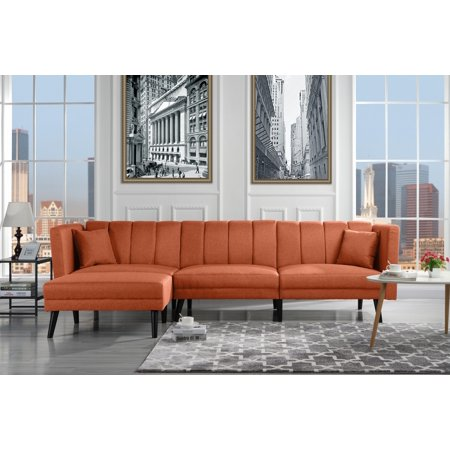 Mid-Century Style Sectional Couch Sleeper Futon, Reclining, Orange
