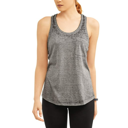 Women's Athleisure Burnout Tank Top (Black Burnout Tank)