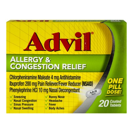 Advil Allergy   Congestion Relief  20 Count  Pain Reliever   Fever Reducer Coated Tablet  200Mg Ibuprofen  Sneezing  Nasal Decongestant  Sinus Pressure