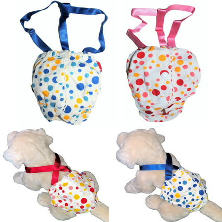 WASHABLE Female Girl Dog Diaper Sanitary Pants Suspenders Stay On Red sz XS (waist 7