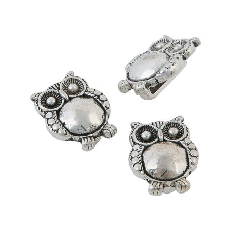 Fun Express - Small Hoot Owl Slide Charms - Craft Supplies - Adult Beading - Metal Beads & Spacers - 12 Pieces