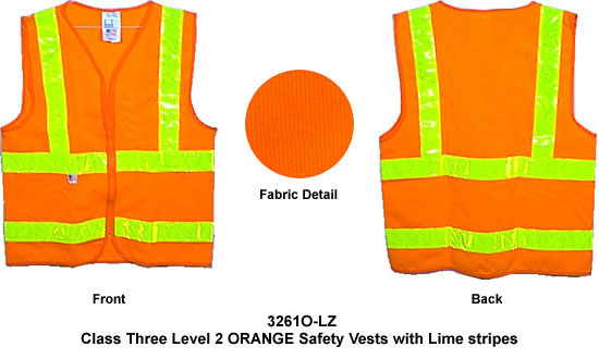 Click here to buy Class Two, ANSI 2004 Double Striped Sleeveless, ORANGE Safety Vests with Lime stripes XL size.