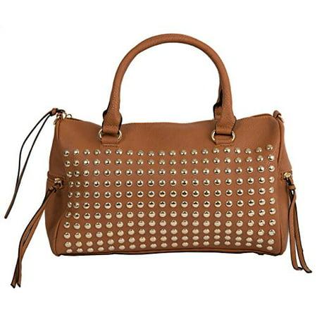 Beauté Bags Astor Studded Satchel Vegan Leather Handbag -