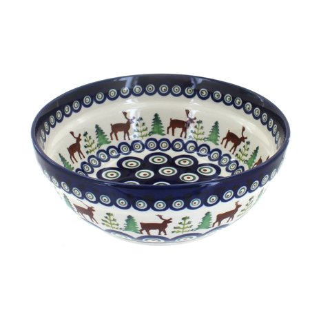 Polish Pottery Reindeer Pine Cereal/Soup Bowl