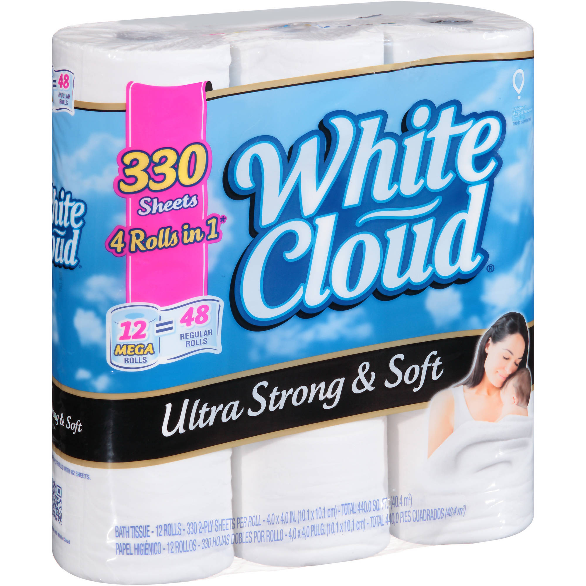 White Cloud Ultra Strong & Soft Bath Tissue Mega Rolls, 2 ply toilet paper, 330 sheets, 12 toilet paper rolls