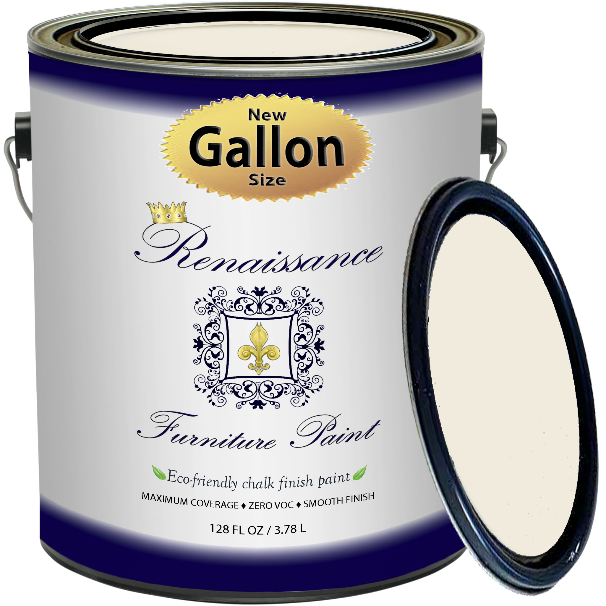 Renaissance Chalk Finish Paint - Ivory Tower Gallon (128oz) - Chalk Furniture & Cabinet Paint - Non Toxic, Eco-Friendly, Superior Coverage
