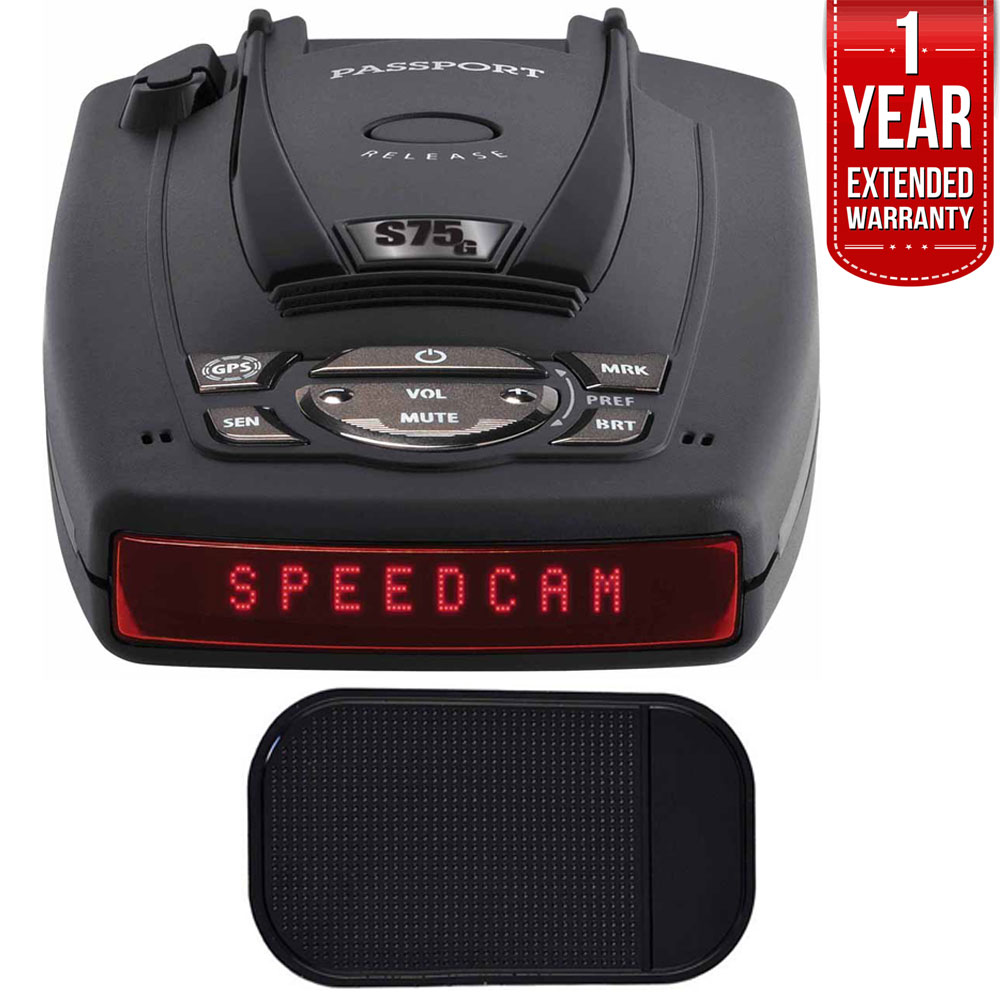 Escort PASSPORT S75g High Performance Radar and Laser Detector Bundle with Slip-Free Car Mat and 1 Year Extended Warranty