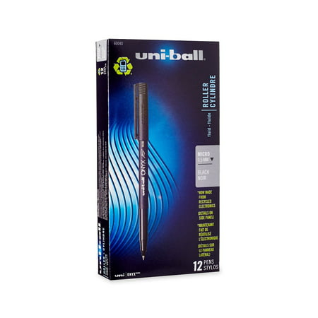 Uni-Ball Onyx Rollerball Stick Pens, Micro Point, Black Ink, 12-Count (Onyx Stick)