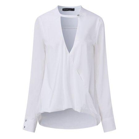 810891d18cc19d ZANZEA - Womens Long Sleeve Deep V-neck Low Cut Tops - Walmart.com