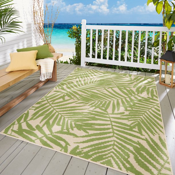 Mainstays Palm Indoor Outdoor Area Rug 8 X 10 Walmart Com Walmart Com
