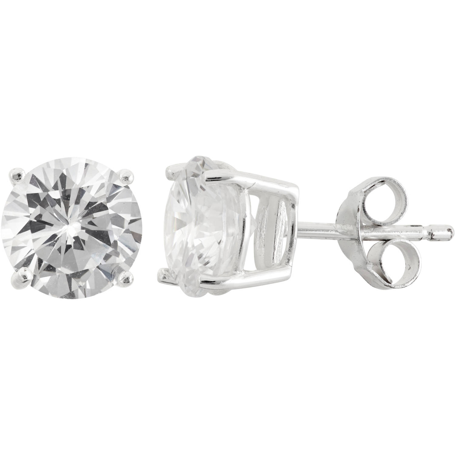 White CZ Sterling Silver Round Stud Earrings, 8mm