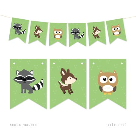 Pennant Party Banner Woodland Animals Fox Raccoon Deer](A Pennant Sign)