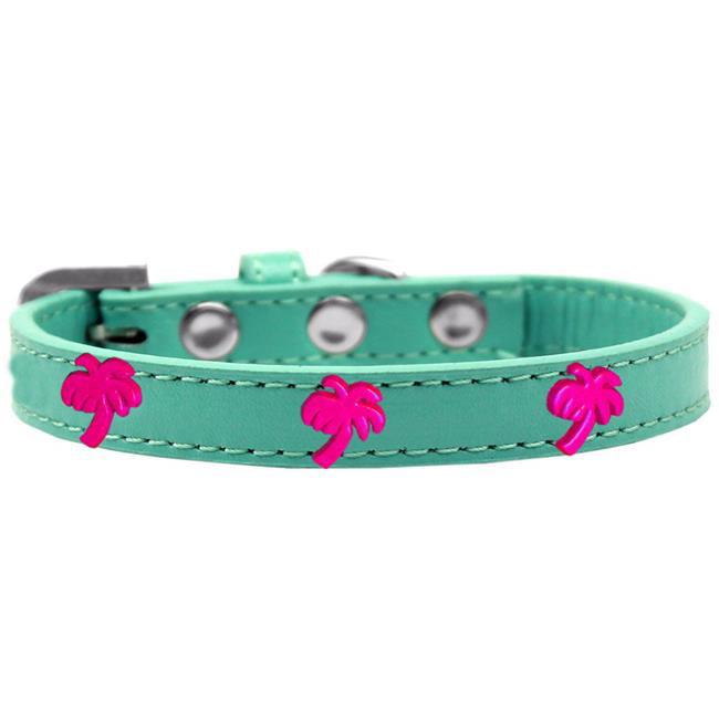 Pink Palm Tree Widget Dog Collar Aqua Size 10 - image 1 de 1