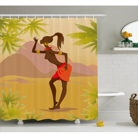 African Woman Shower Curtain Young Zulu Girl In Exotic Nature Tree Leaves Mountains Folkloric Clothing