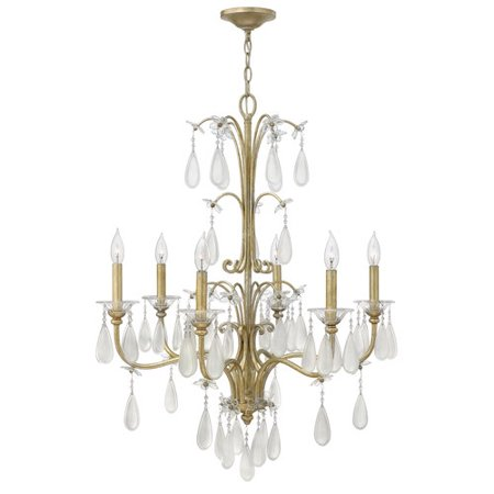 Fredrick Ramond Francesca - Six Light Chandelier, Silver Leaf Finish with Etched Crystal Tear Drop Glass
