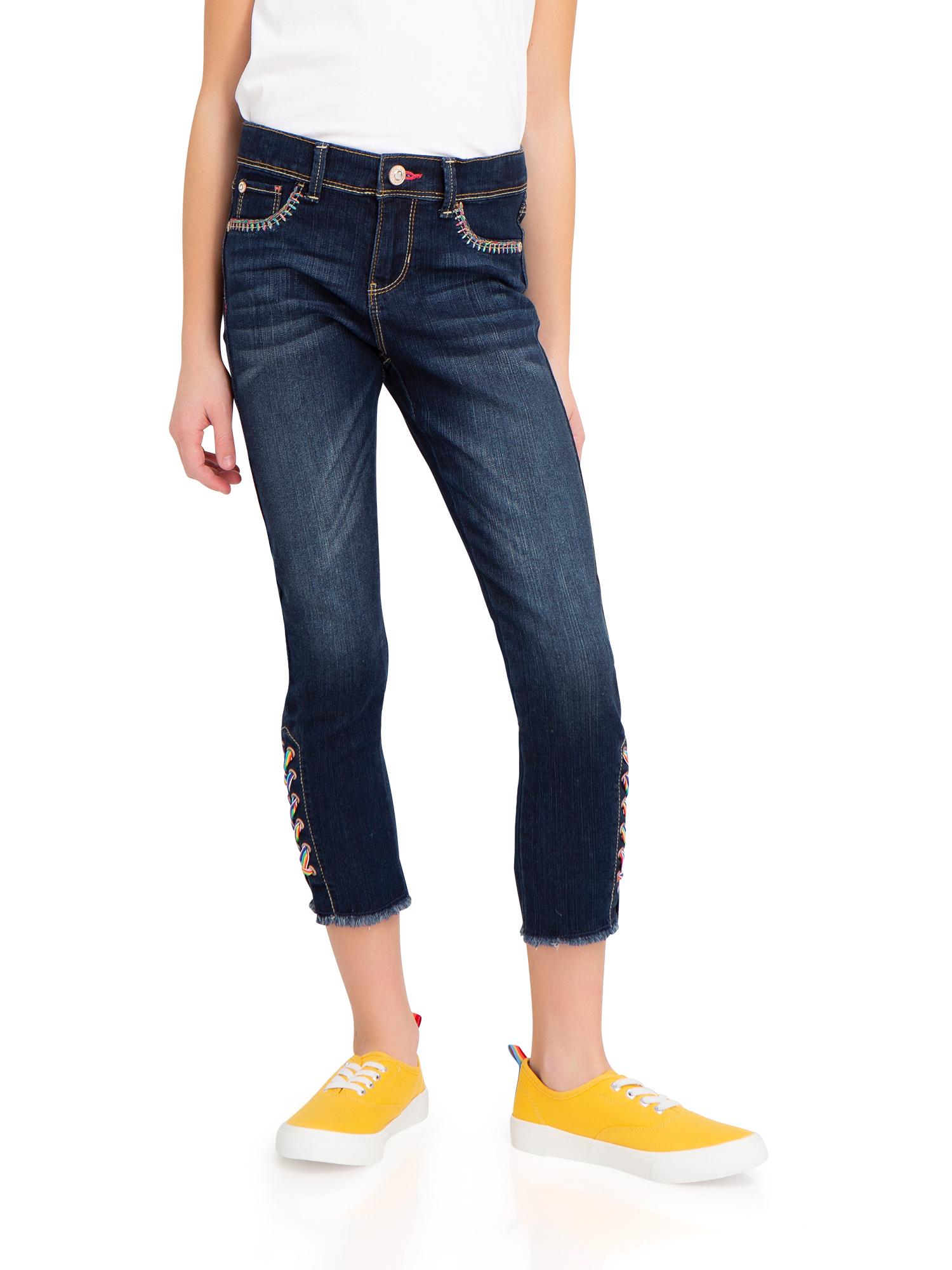 Lace Up Hem Super Skinny Ankle Jean (Little Girls & Big Girls)