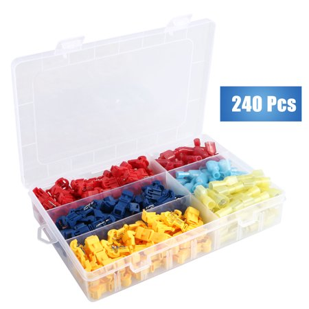 - 240 PCS T-Tap Wire Connectors,Electrical Terminals Assortment - Heavy Duty Insulated Quick Wire Splice Taps and Insulated Male Quick Disconnect Kit