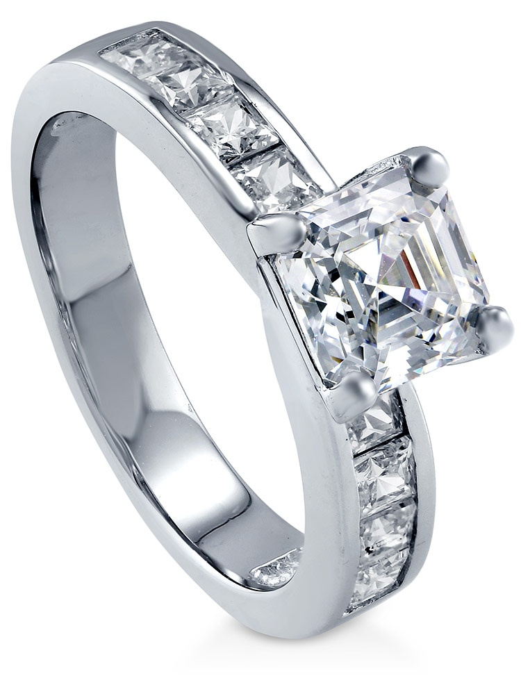 BERRICLE Rhodium Plated Sterling Silver Cubic Zirconia CZ Solitaire Promise Engagement Ring Size 10