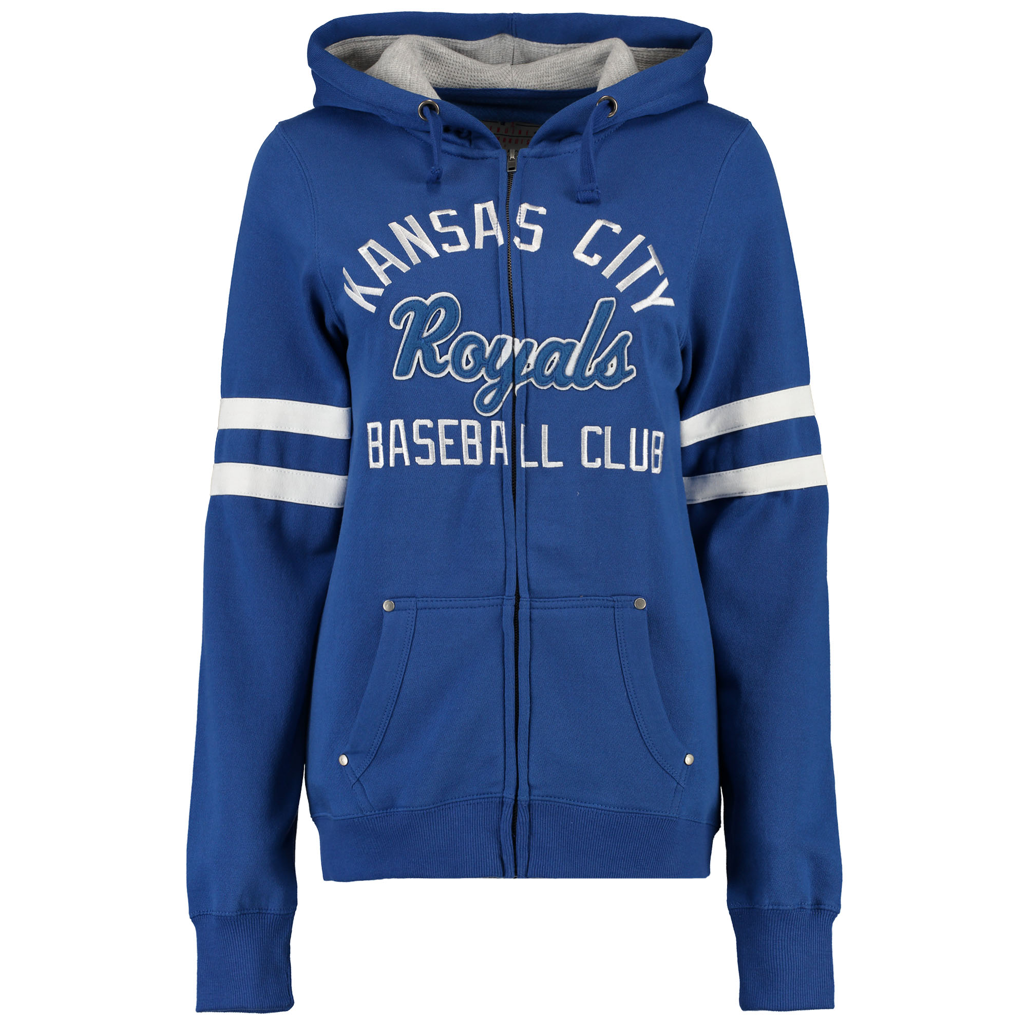 Kansas City Royals Soft as a Grape Women's Umpire Full-Zip Hoodie with Sleeve Stripes - Royal