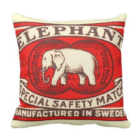 BOSDECO Red Vintage Elephant Yellow Matchbook Pillowcase Cover 20x20 inch - image 1 of 1