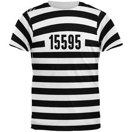 Halloween Prisoner Old Time Striped Costume All Over Adult T-Shirt - Halloween Shirts For Adults