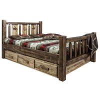 Montana Woodworks MWHCSBKSLLZBRONC Homestead Storage Bed with Laser Engraved Bronc Design, Stain & Clear Lacquer - King Size