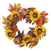 """22"""" Harvest Sunflower and Pumpkin Artificial Thanksgiving Wreath - Unlit"""