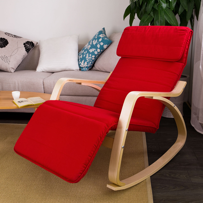 Haotian Comfortable Relax Rocking Chair with Foot Rest Design, Lounge Chair, Recliners Poly-cotton Fabric Cushion... by
