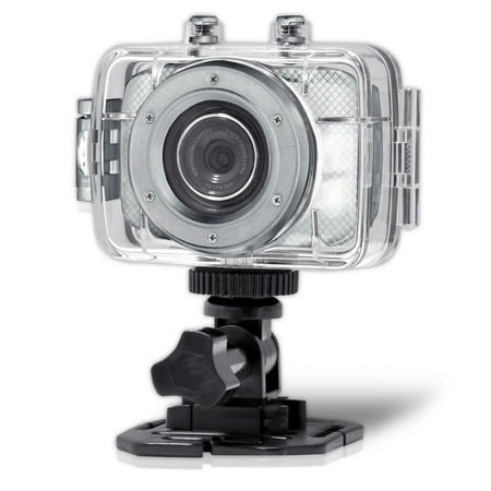 Pyle High-Definition Sport Action Camera with 720p Wide-Angle Camcorder, 5.0 MP Camera, 2-Inch Touch Display, Micro SD Card Slot, Waterproof Case and Mounting Gear for Sports (Silver color)