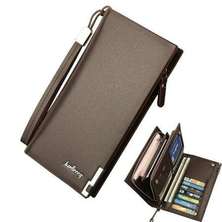 Mens Leather Wallet Bifold ID Card Holder Purse Checkbook Long Clutch Billfold ()