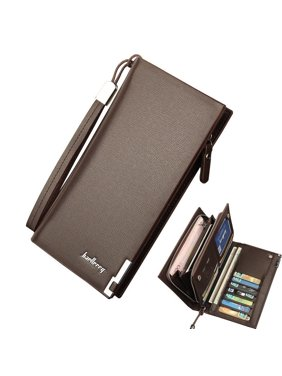 Mens Leather Wallet Bifold ID Card Holder Purse Checkbook Long Clutch Billfold