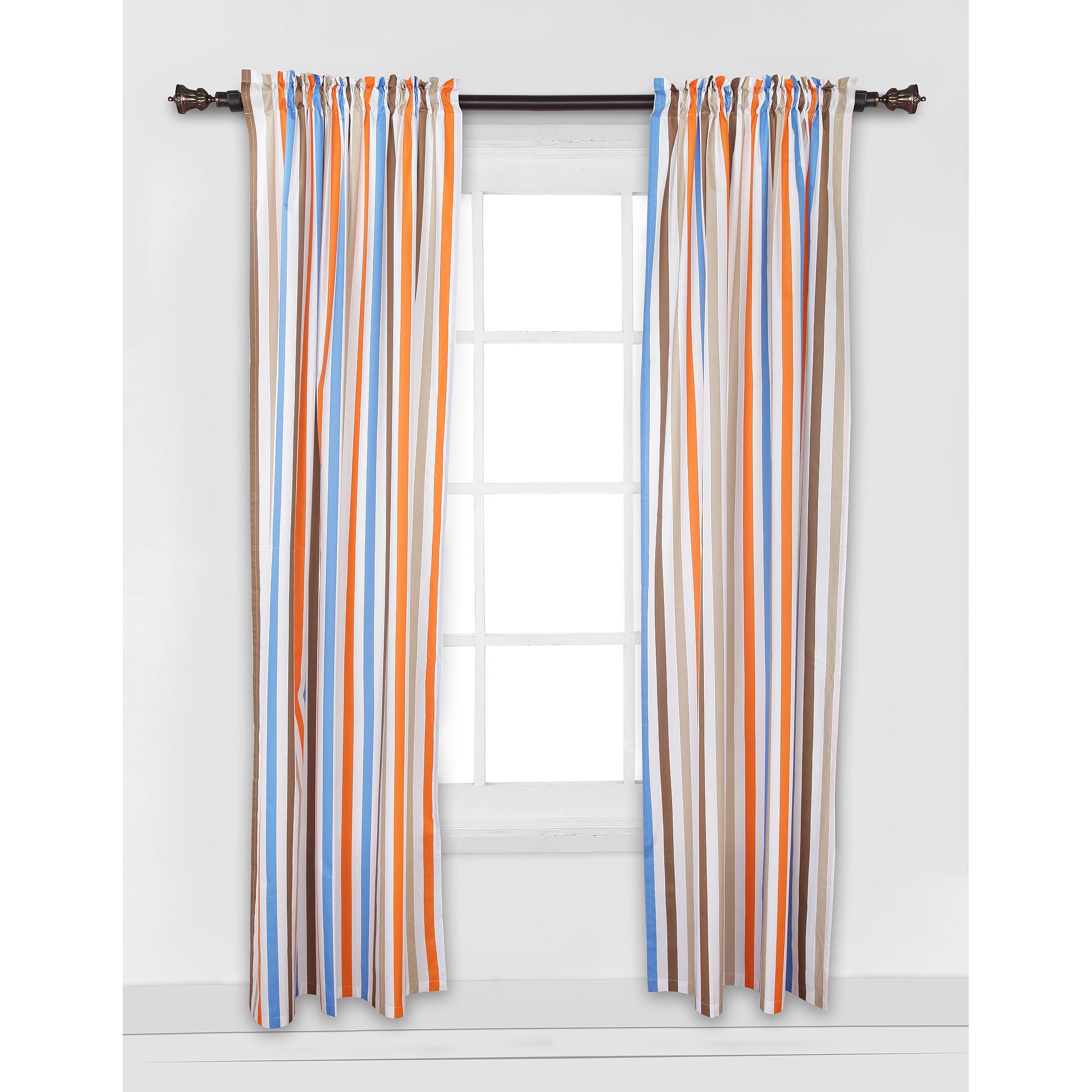 "Bacati Mod Sports Stripes Curtain Panel 42""x84"" 100% Cotton percale fabrics"