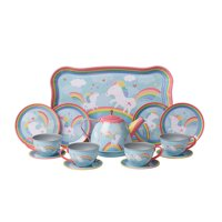 "Child Size Unicorn Tea Set - Play Teacups, Saucers, and Serving Tray - 9"" tray, four 3.5"" plates"