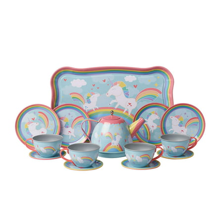 (Unicorn Play Tea Set - Child Size Teacups, Saucers, and Serving Tray - 9