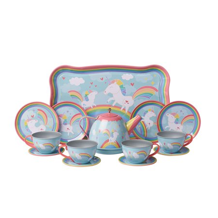 Child Size Unicorn Tea Set - Play Teacups, Saucers, and Serving Tray - 9