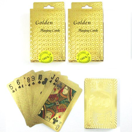 Plated Playing Card - 2 Decks Certified 24k Gold Foil Plated Card Poker Playing Cards Spades US Dollar