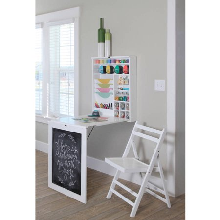 Fold Down Murphy Table Storage Desk With Chalkboard White