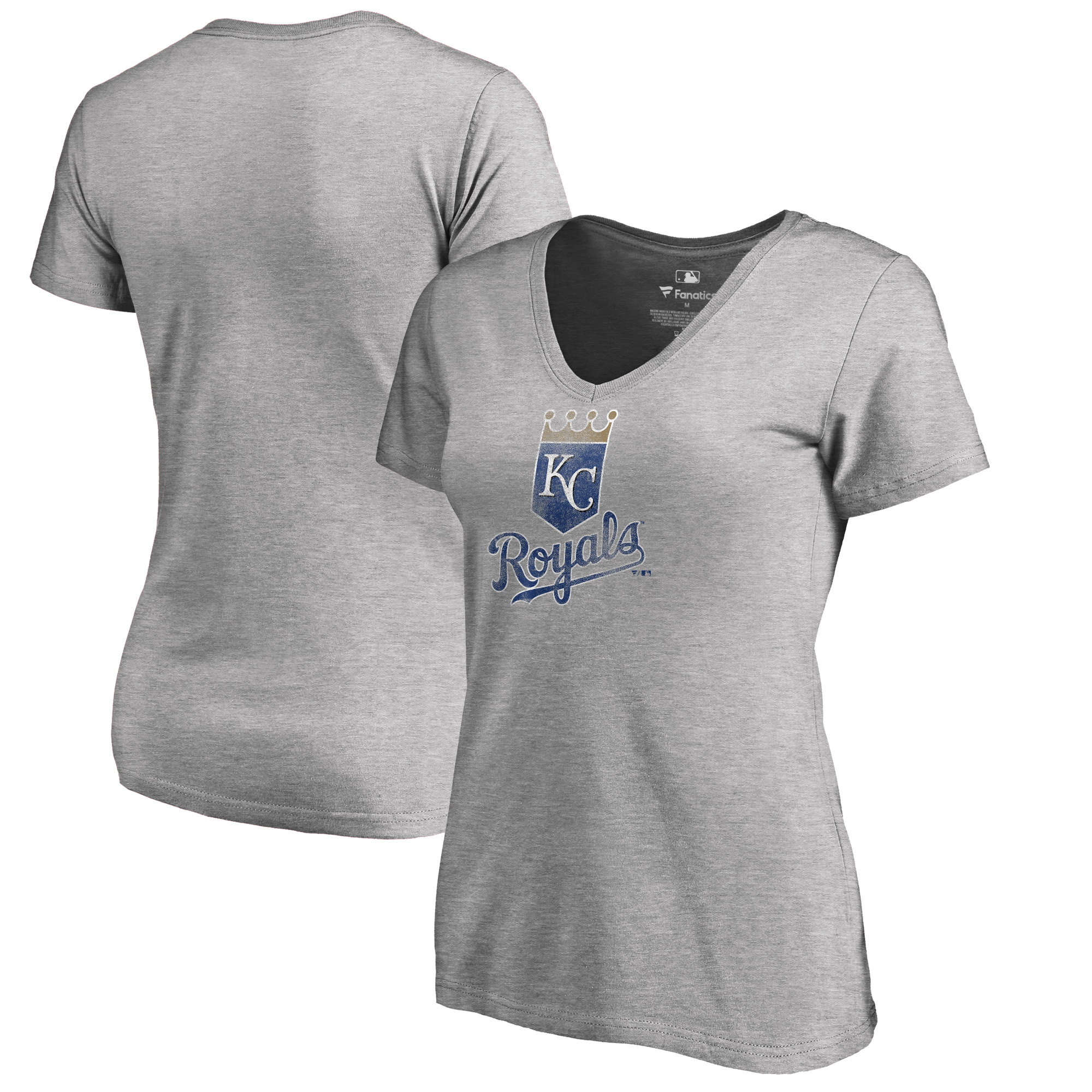 Kansas City Royals Fanatics Branded Women's Plus Size Distressed Team V-Neck T-Shirt - Heathered Gray