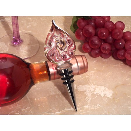 - Murano teardrop design mauve and gold bottle stopper