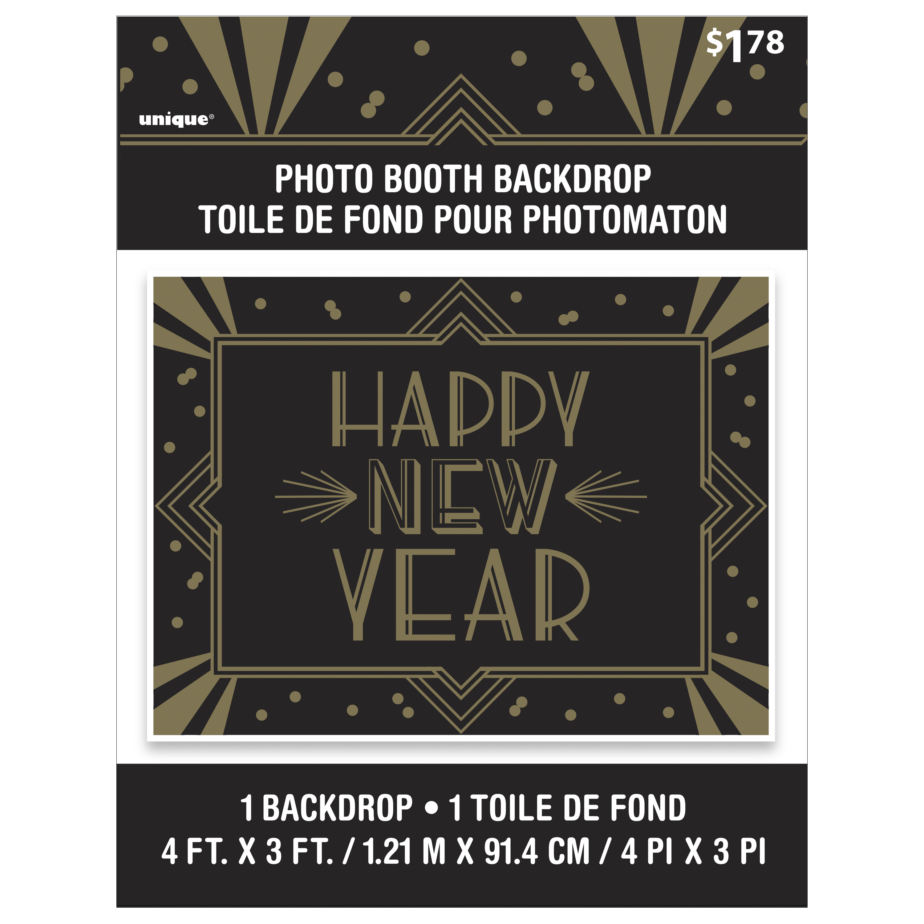 Art Deco New Years Photo Booth Backdrop 4 X 3 Ft Black Gold 1ct