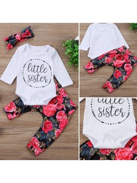 510ac62226cf Product Image Newborn Toddler Baby Girls Tops Romper Flower PaF28As 3Pcs Outfits  Set Clothes