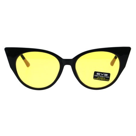 Womens Pop Color Lens Cat Eye Retro Plastic Designer Sunglasses Yellow