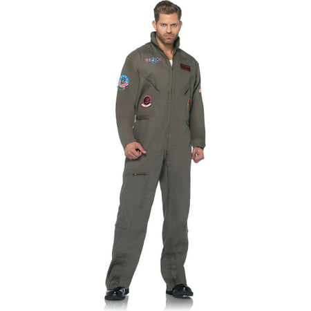 Leg Avenue Top Gun Adult's Flight Suit Adult Halloween - Halloween Skull Makeup Guy