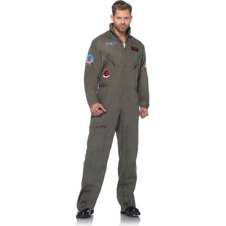 Leg Avenue Top Gun Adult's Flight Suit Adult Halloween Costume - Easy Homemade Costume For Adults