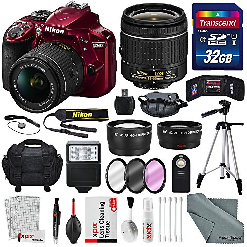 Nikon D3400 with AF-P DX NIKKOR 18-55mm f/3.5-5.6G VR Lens, 32 GB SDHC and Ba...