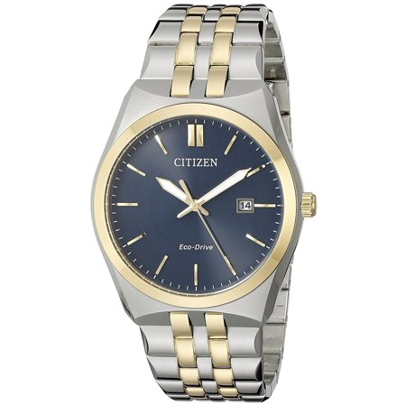 (Citizen Men's Corso 40mm Two Tone Steel Bracelet Steel Case Eco-Drive Blue Dial Analog Watch BM7334-58L)