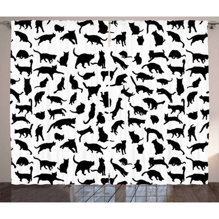 cat lover curtains 2 panels set black silhouettes of cats in different poses scratching stretching - Cat Curtains
