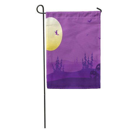 KDAGR Halloween Purple Silhouette of Witch and Pumpkins Haunted House Castle Garden Flag Decorative Flag House Banner 28x40 inch - Haunted Castles Germany Halloween