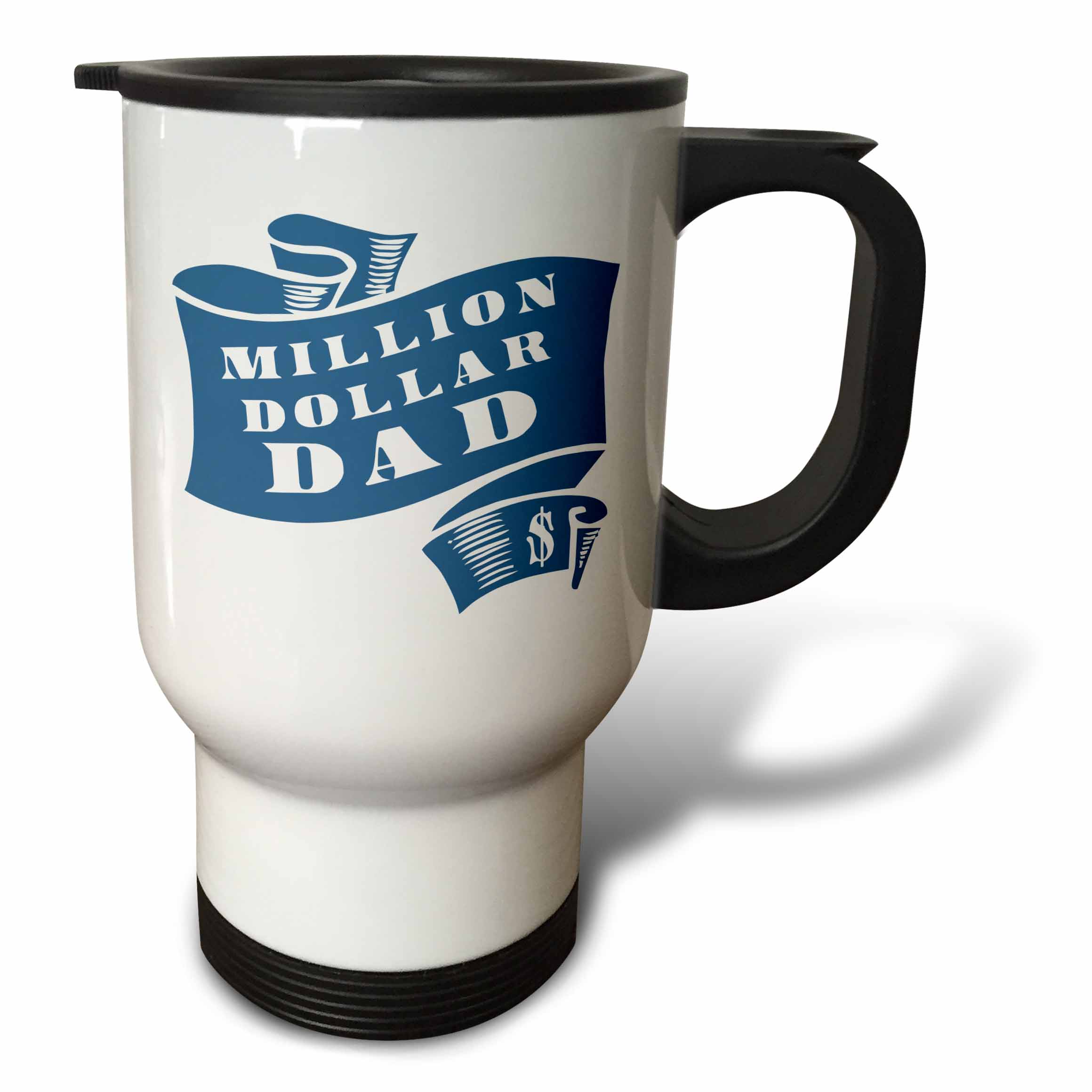 3dRose Teal Million Dollar Dad Scroll in Rough Woodcut Style - Travel Mug, 14-ounce, Stainless Steel